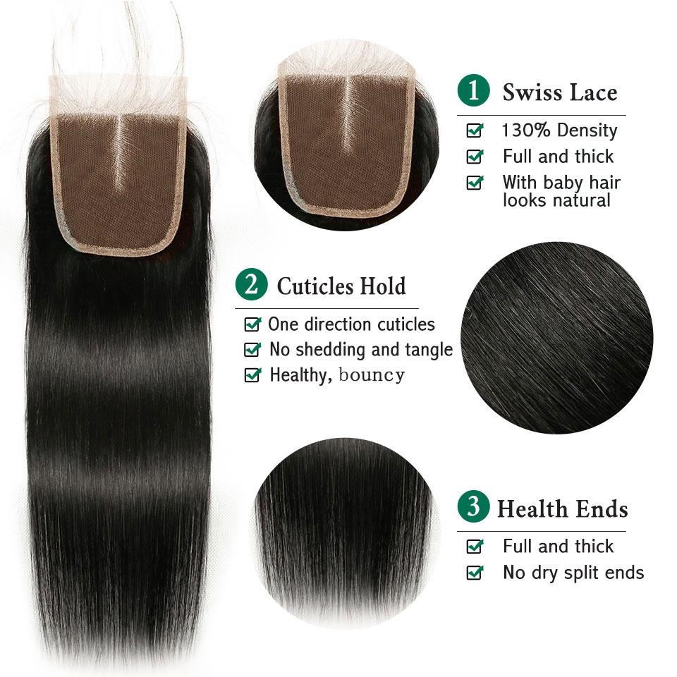 Brasilianska Straight Human Hair Bundles med Closure Beauty Plus 4 - Skönhet och hälsa - Foto 3