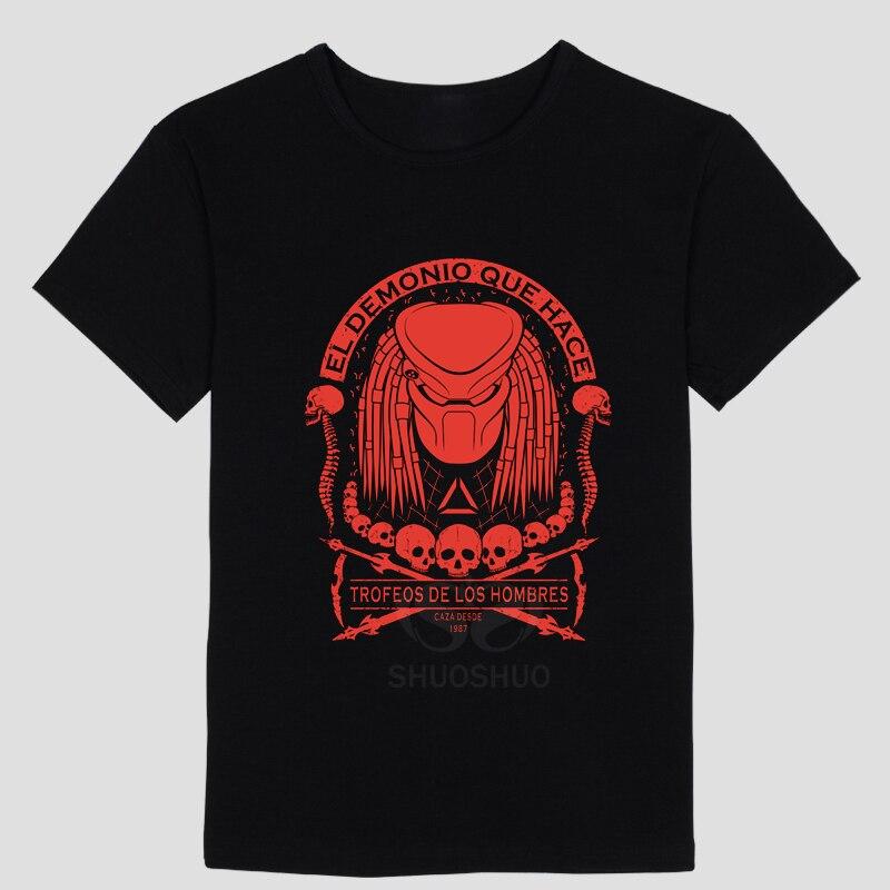 Alien vs predator Alien war Iron warrior DIY mens short sleeve T-shirt cotton Round collar