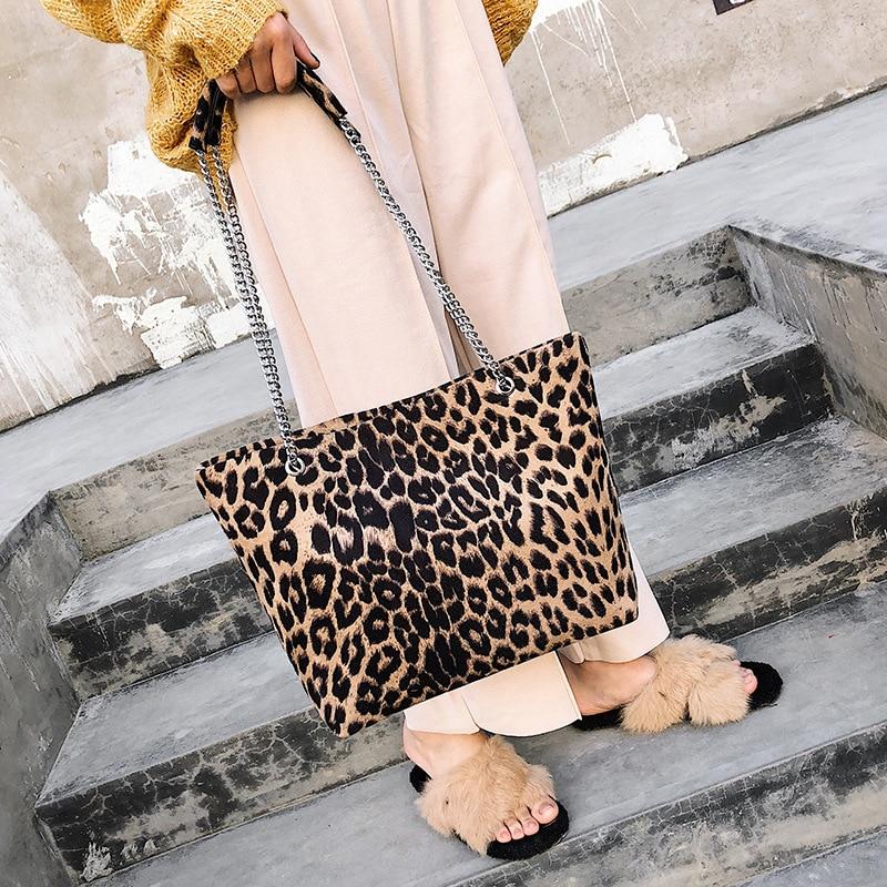Tracolla Dell'annata Spalla Brown Di Capacità Grande colore Stampa Delle Leopardo Borse Donne Pelle Tessuto Tote Giallo Sacchetti A Scamosciata Catena In xqYUWwvtdF