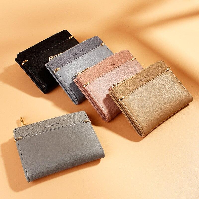 Female Purse Wallets Hasp Short Zipper Slim Mini Fashion Coin Multi-Cards-Holder Solid