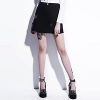Vintacy Summer Women Black A Line Mini Skirts Gothic Metal Ring A Line Skirts Solid Lady