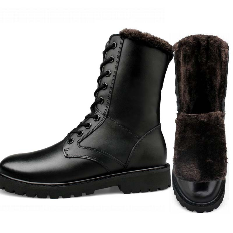Men Black Military Boots Genuine Leather Winter Snow Warm Long Boots Martin Motorcycle Hombre Shoe Size 38-46 47 48 49 50 51 52