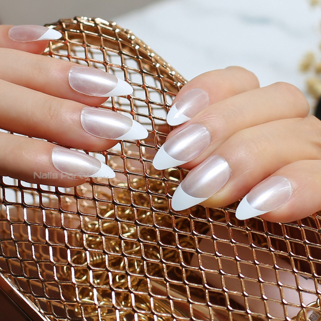 US $1 39 |pearl,White border French Nails medium Pointed nails False Nail  tabs Tips Designed full sets Bright light Naturally transparent -in False