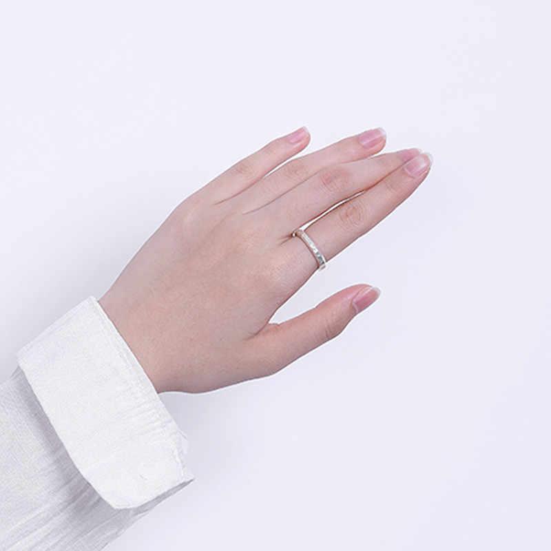 Uglyless 100% เงินแท้ Silver 925 Sterling Silver Handmade เคาะพื้นผิวธรรมดาแหวนเปิดแหวนนิ้วเครื่องประดับ Bijou