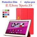Кожа чехол крышка для Sony Xperia Z4 планшет ультра 10.1 '' чехол принципиально для Sony Xperia Z4 планшет SGP771 SGP712 + стилус + плёнка