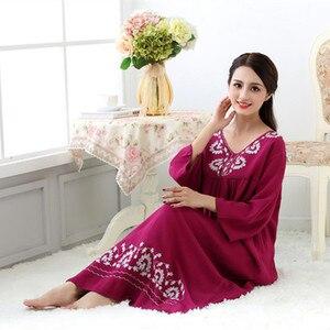 Image 3 - Fdfklak M XXL più le donne di formato degli indumenti da notte della biancheria di sonno del cotone del vestito lungo sexy camicie da notte per le donne camicia da notte di autunno della Molla