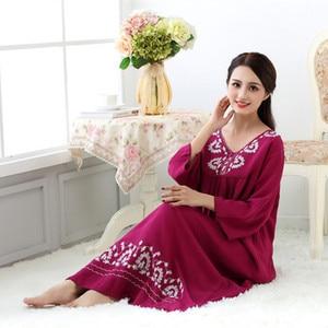 Image 3 - Fdfklak M XXL plus size women sleepwear lingerie cotton sleep dress sexy long nighties for women nightgown Spring autumn