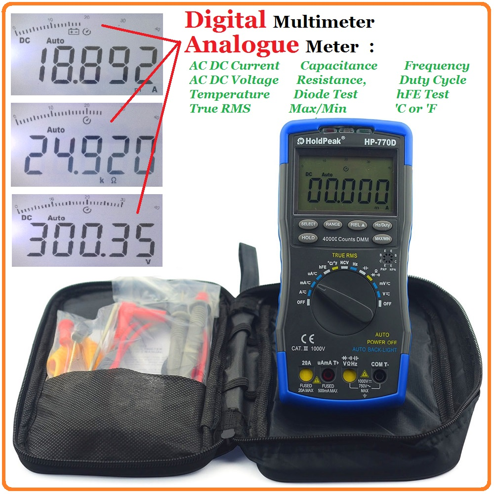 Holdpeak Test True RMS Digital Multimeter Auto Range Multimetro 40000 Counts Resistance Frequency Temperature Tester HP-770D multimeter test leads digital auto range