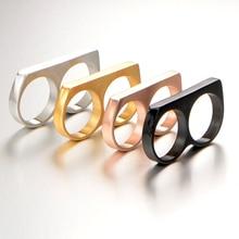 V-COOL Punk Мужская Байкер Два Пальца кольца Личность хип-хоп нержавеющая сталь кастет мода ювелирные изделия кольца VR133