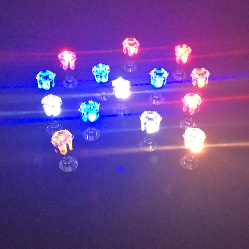 Fashion 30pair earring Diamond Stud Earrings LED light bar nightclub trendsetter Earrings colorful Flashing ear stud Supplies