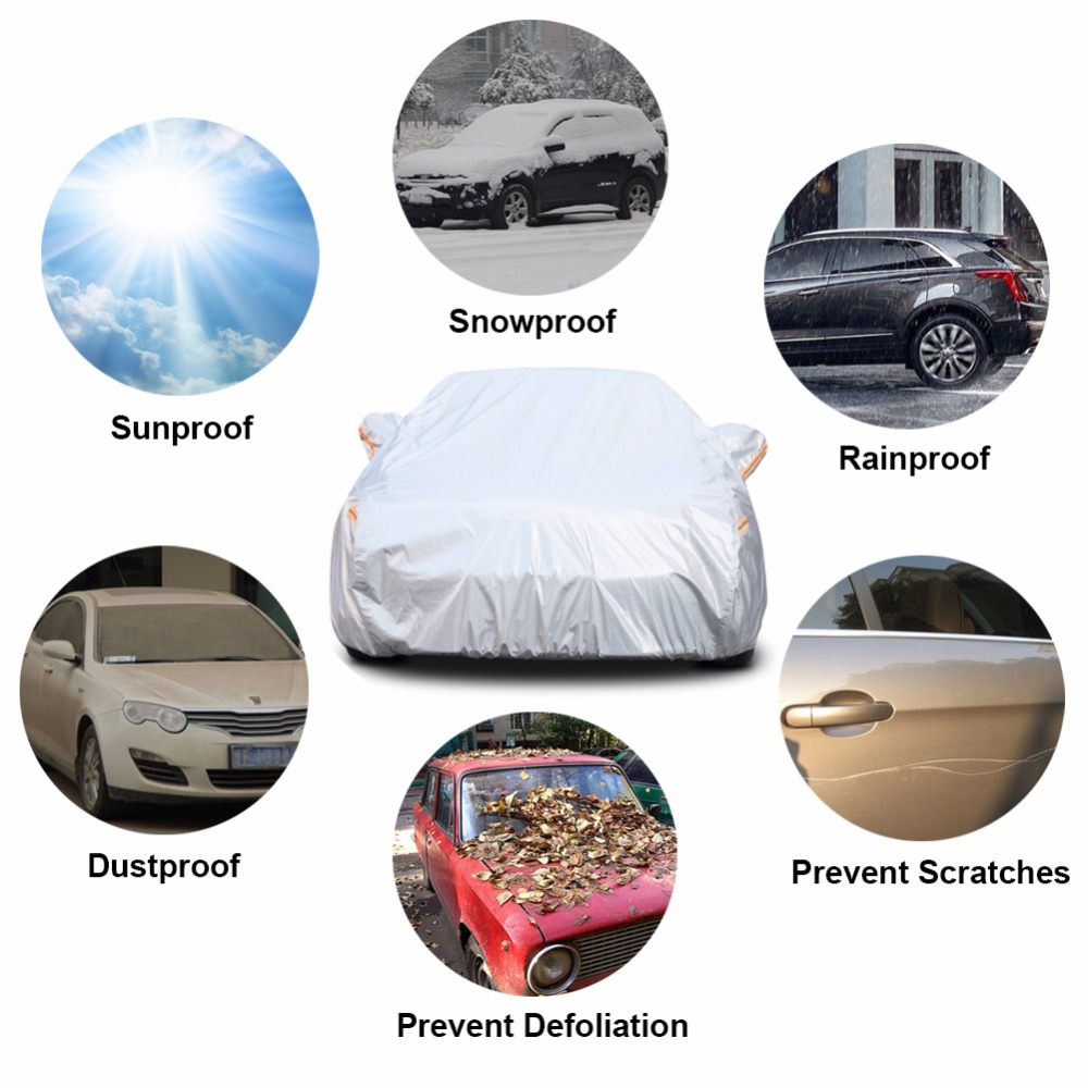 cheapest Kayme aluminium Waterproof car covers super sun protection dust Rain car cover full universal auto suv protective for vw toyota