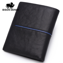 BISON DENIM Cowskin Leather Men Wallets Multi-Functional Cowhide Coin Purse Slim Genuine Leather Wallet Men Card Holders  N4437