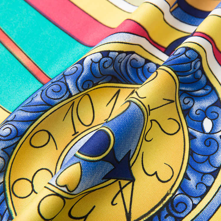 POBING 100% саржевый шелковый шарф женские квадратные шарфы бренд большой шейный платок часы с принтом Foulard высокое качество бандана большой хиджаб