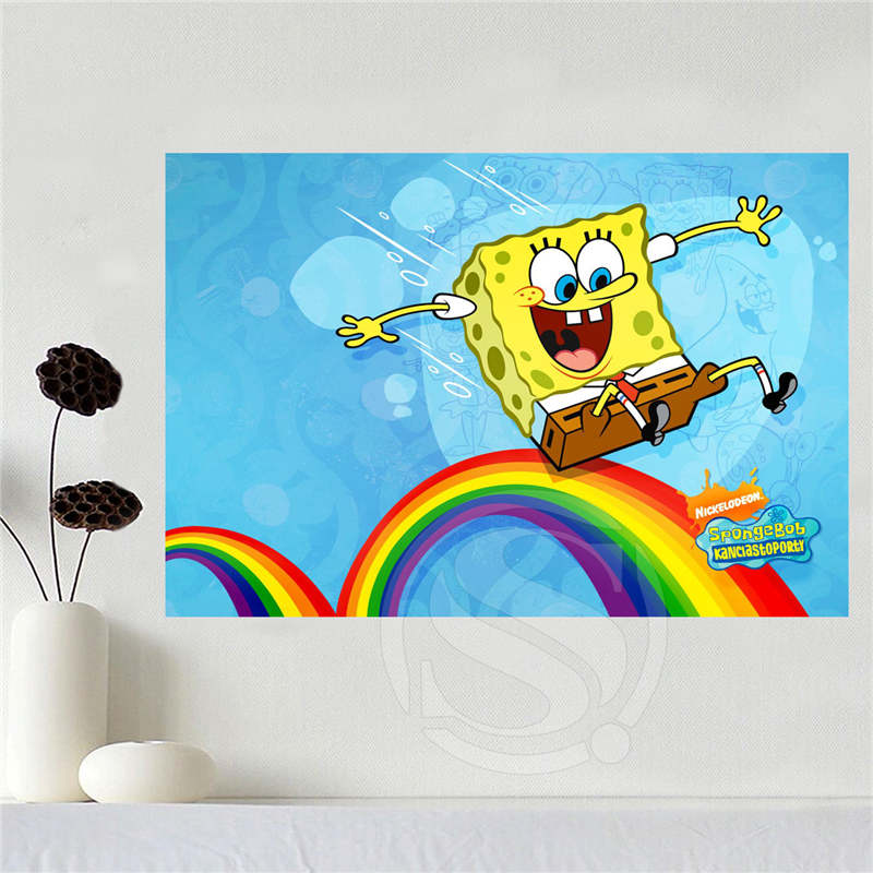 Custom canvas spongebob poster home decoration cloth fabric wall ...