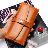 Brand Luxury Female Purse 2019 New Genuine Leather Original Leather Purse Vintage Cow Leather Buckle Woman Purse Clutch Bags