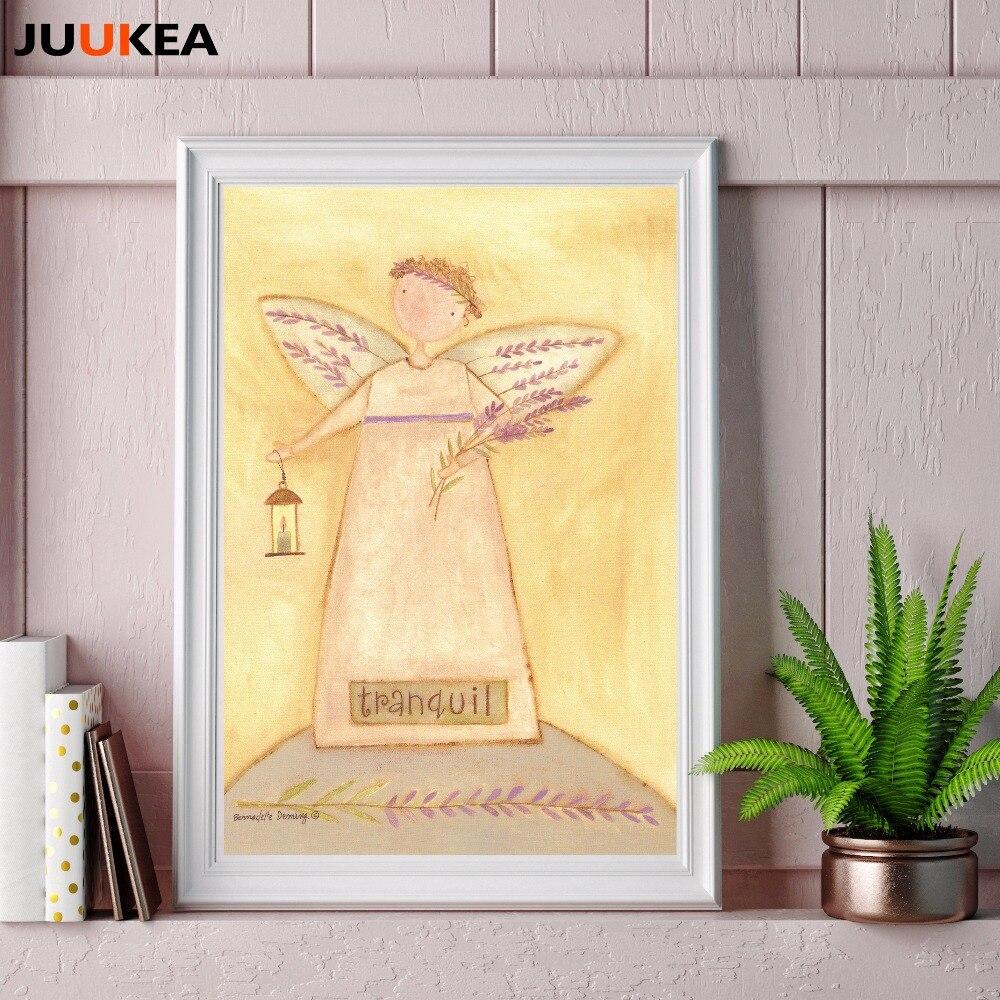 Modern Cartoon Pastorale Comfort Peaceful Quiet Angels Canvas Print ...