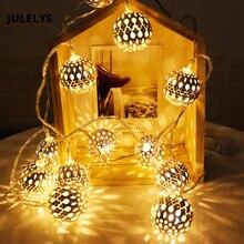 Guirnalda de hadas de 10M, bolas de Marruecos, guirnalda de luces LED con batería, luces de Navidad, decoración al aire libre para vacaciones, boda, Halloween