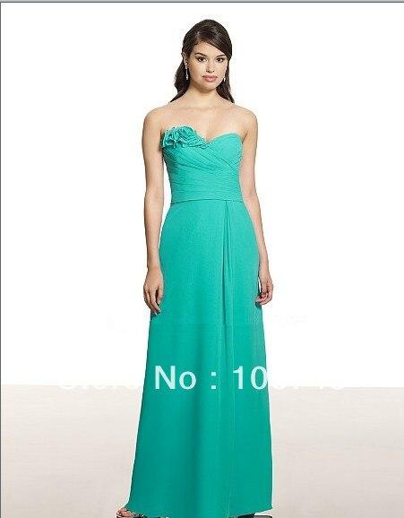free shipping vestido de noiva Poly chiffon A-line sweetheart neckline open back natural waist rolled flowers   Bridesmaid     Dresses