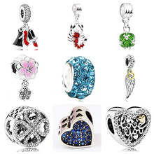 Btuamb Maxi Lipstick High Heels Hamsa Hand Love Heart Crystal Beads Fit Pandora Bracelets Bangles DIY Making Jewelry Party Gift(China)