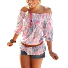 Sexy Shirt  Women's Off-Shoulder Chiffon Half Sleeve Loose Tops Casual Blouse Lady