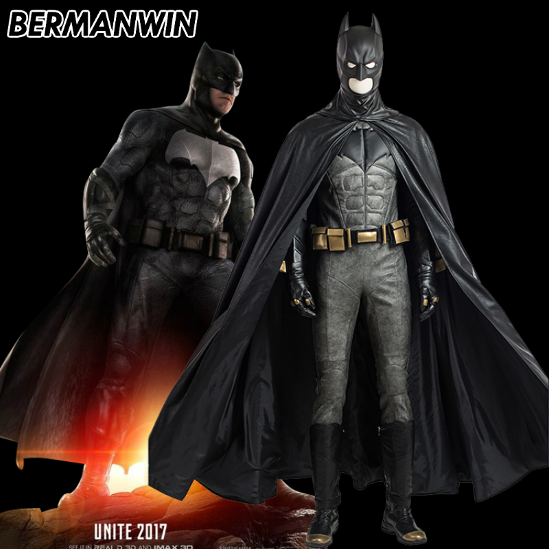 BERMANWIN High Quality Justice League Batman Costume Adult Men Superhero Batman cosplay leather outfit Halloween Cosplay Costume