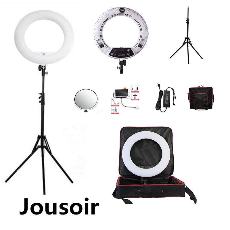 Белый FS 480II 5500 К затемнения Камера фото/Studio/телефон/видео 18 48 Вт 480 СВЕТОДИОДНЫЙ Кольцо свет светодиодный лампы + 2 м штатив + мягкая сумка CD50