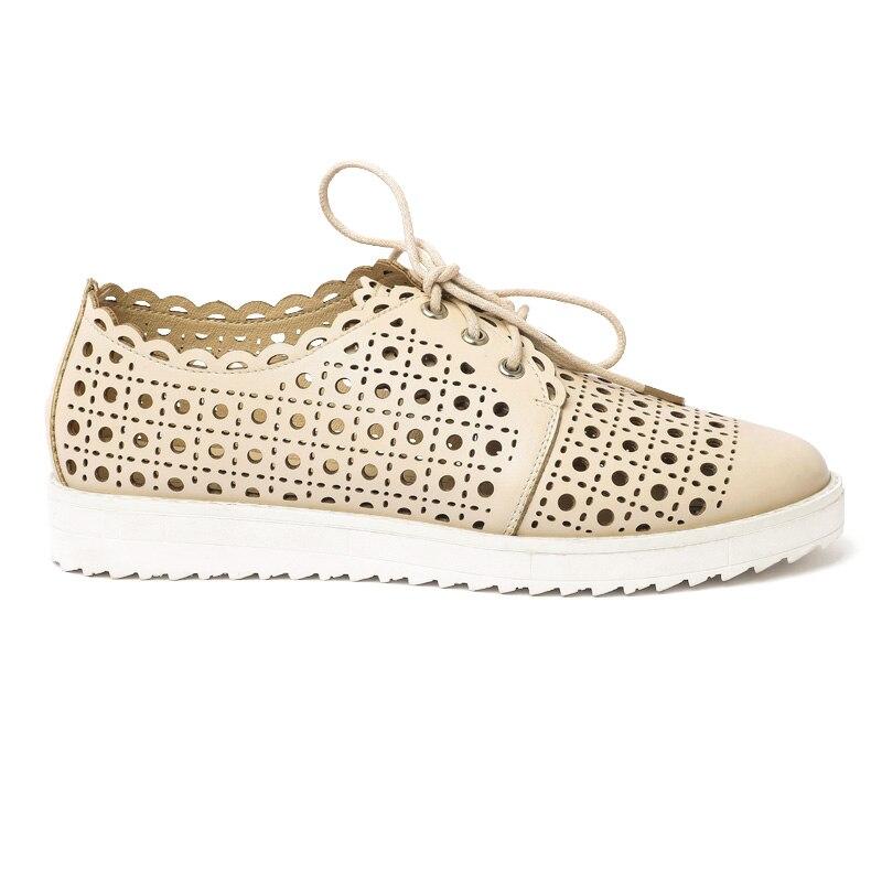 2017 de Las Nuevas Mujeres Pisos Tamaño Grande Zapatos de Cuero Sandalias de Muj