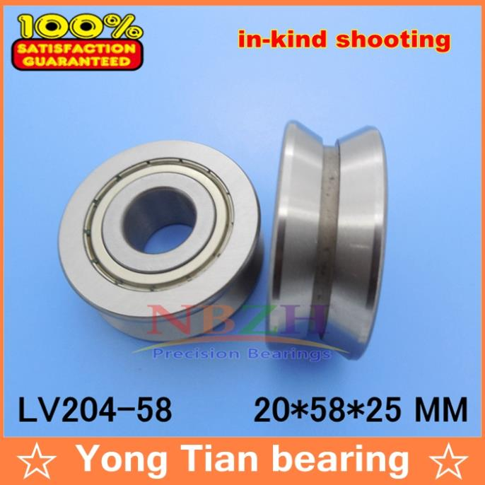 V Groove Guide roller bearings LV204-58 ZZ LV-58 RV204/20.58-30 20*58*25 (Precision double row balls) ABEC-5 gcr15 6326 zz or 6326 2rs 130x280x58mm high precision deep groove ball bearings abec 1 p0