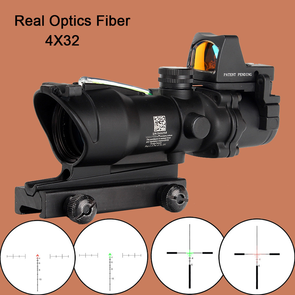 ohhunt Hunting ACOG 4X32 Real Fiber Optics Chevron BDC Reticle Red Green Illuminated Riflescope for Rifle