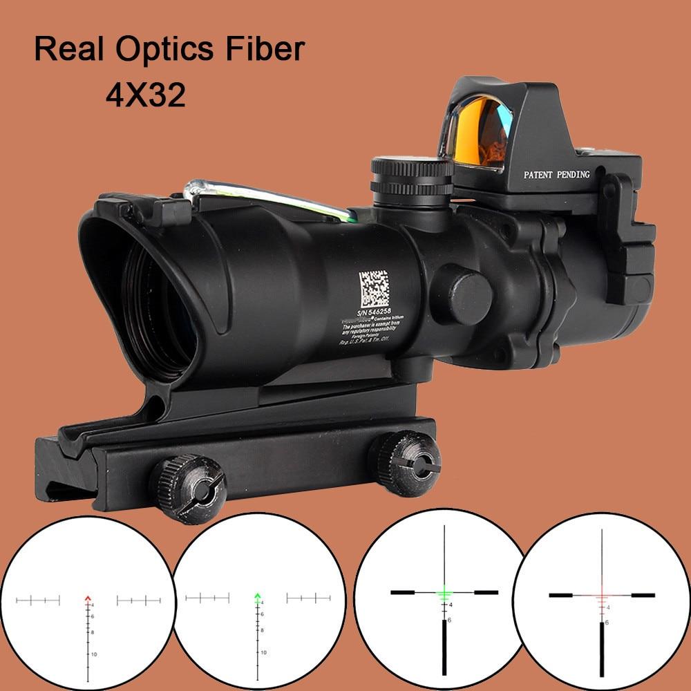 ohhunt Hunting ACOG 4X32 Real Fiber Optics Chevron BDC Reticle Red Green Illuminated Riflescope for Rifle