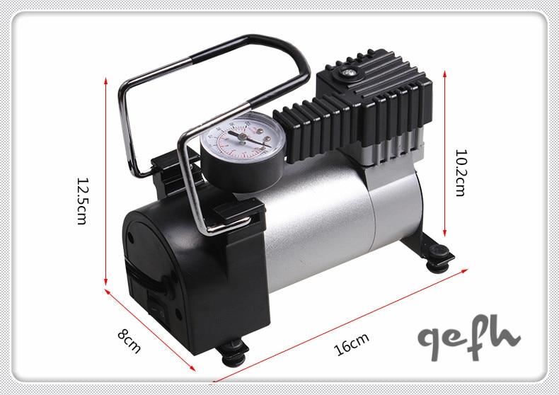 Qefh DC 12V Electric Car Inflatable Pumping Air Pumps Compressor Auto Cigarette Lighter Plug Metal Shell for Durable Use