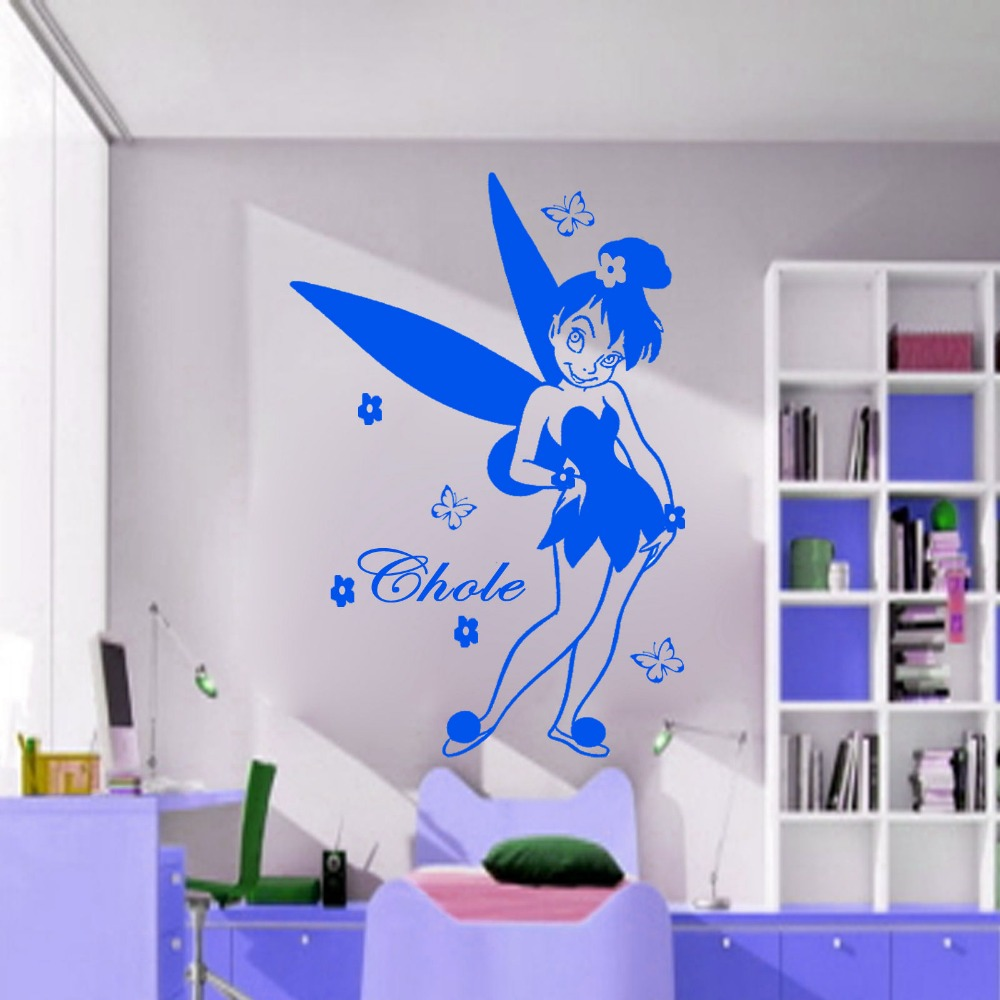 Cartoon Free Shipping Fairy tales Personalizd Name Vinyl wall Art stickers Removable PVC Kids Room Decals Decoration KW 23 in Wall Stickers from Home Garden