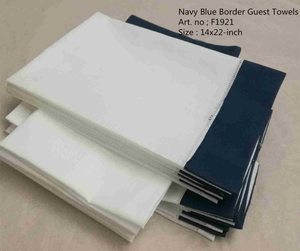 Set Of 12 Fashion Handkerchiefs Towel With Color Navy Blue Border White Linen Guest Towe LHand Towel Hemstitch Border 14x22-inch