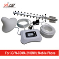 ATNJ 3G WCDMA signal repeater with yagi and ceiling antenna, powerful 2100mhz  mini mobile signal booster LCD screen