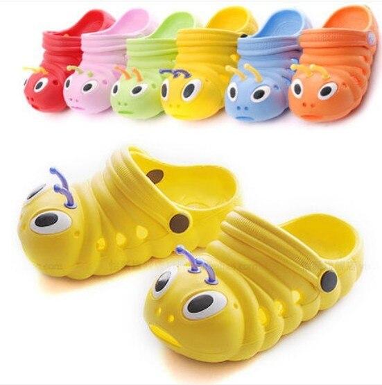 Baby Unisex Shoes New Style Summer Kids Cute Cartoon Caterpillars Pattern Breathable Boys Girls Sandals Children Slides