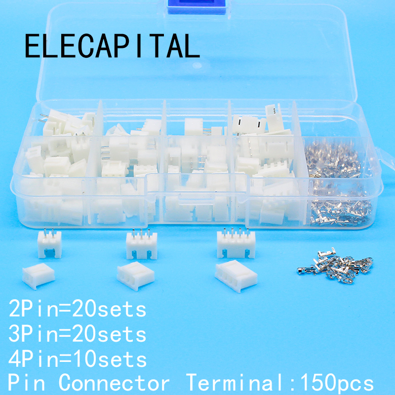 50 sets Kit in box 2p 3p 4 pin 2.54mm Pitch Terminal / Housing / Pin Header Connector Wire Connectors Adaptor XH2P Kits