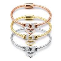 Nieuwe Stijl Hart Crystal Charm Armband Bangles Magneet Sluiting Met Snake Chain 316L Rvs Vrouwen Bruiloft sieraden