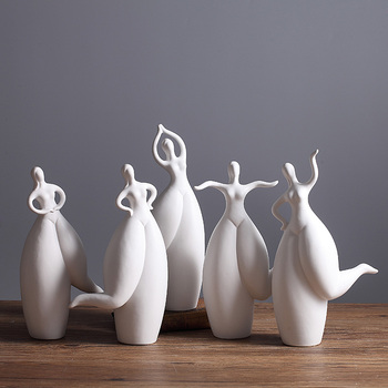 white ceramic Creative dancer girls lady statue home decor crafts room decoration Fat beauty ornament porcelain figurine gifts