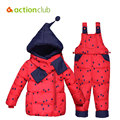 Baby Clothes Set Kids Hooded Jacket With Scarf Children Boys Girls Winter Warm Down jacket & coat Pony pattern Suit Set KS419