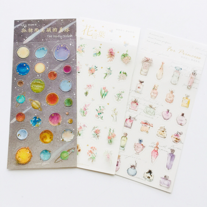 1 Sheet Golden Foiled Planet Flower Cosmetic Adhesive Stickers Decorative Album Diary Stick Label Paper Decor Hand Account