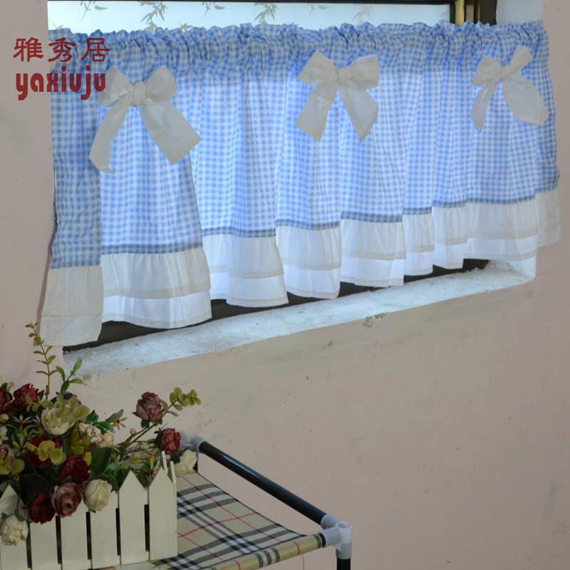 Kostenloser versand blau Plaid bogen schöne kaffee kurzen vorhang ...