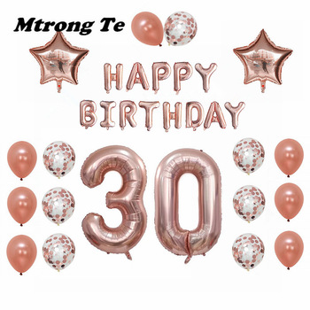 1set 30 50 60 years old Happy Birthday Balloons Adults Alphabet Letters Paper Banner 40inch Rose Gold Number foil balloon Decor 1