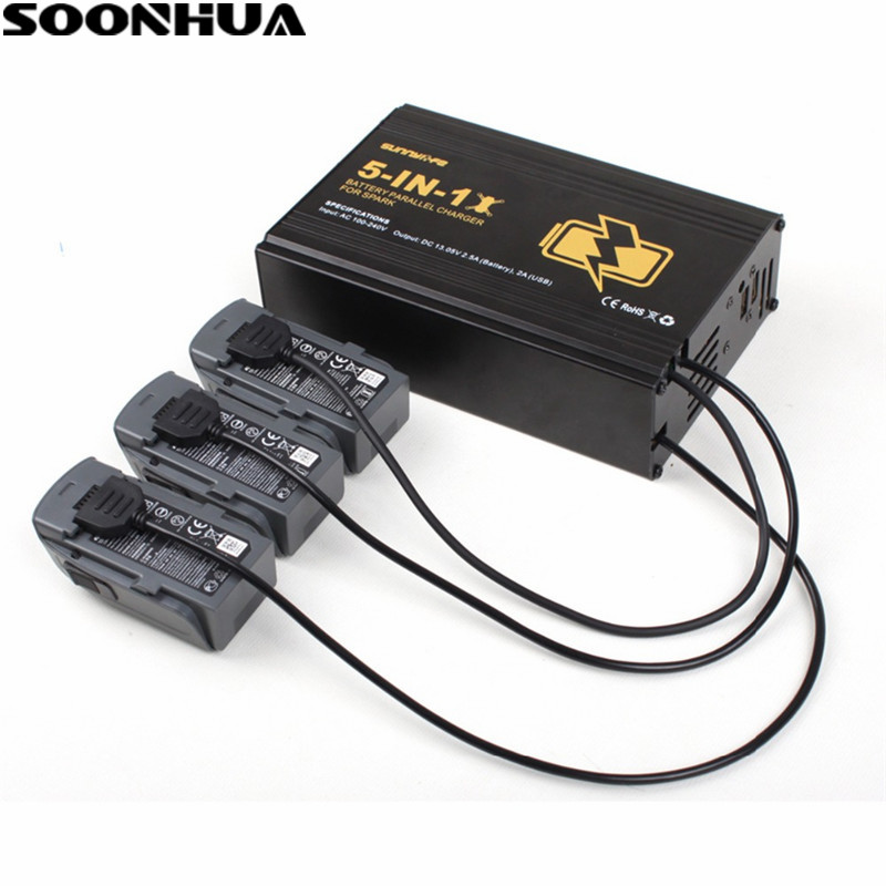 SOONHUA 5 In1 Battery Remote Control Phone Parallel Hub Effieient Charger Over Charge Protection For DJI Spark DronesSOONHUA 5 In1 Battery Remote Control Phone Parallel Hub Effieient Charger Over Charge Protection For DJI Spark Drones