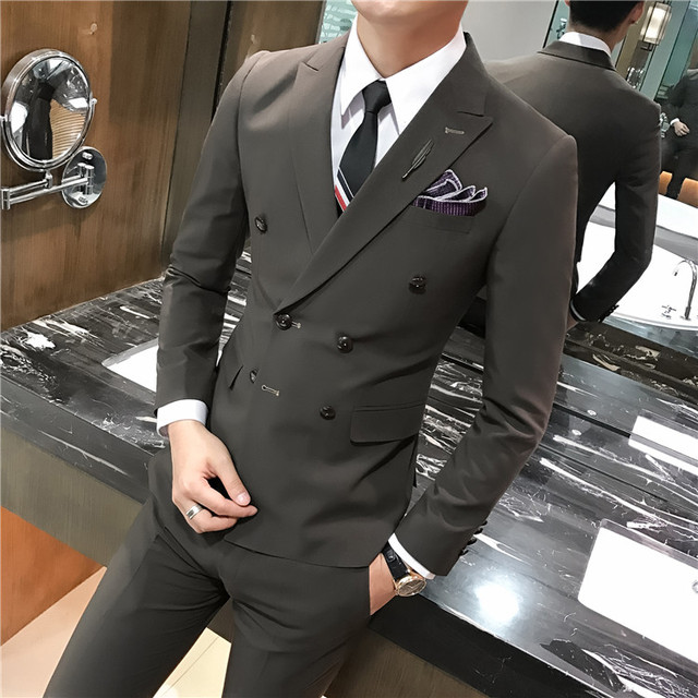 3 Pcs Set 2019 New High Quality Brand Men S Double Breasted Suits
