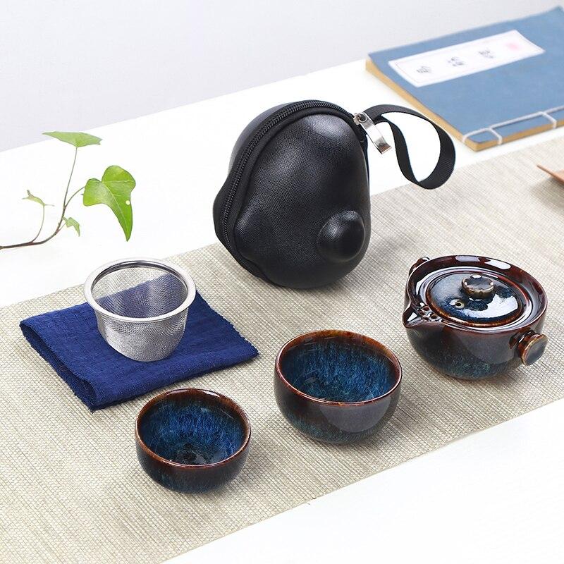 Japanischen ofen ändern schnelle passagier tasse, ein topf, zwei tassen Reise tee-set Haushalt outdoor tragetasche Keramik kungfu teekanne