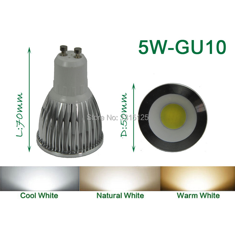4PCS / lot de putere mare LED Spotlight COB, 5W LED COB GU10 lumină, - Iluminat cu LED