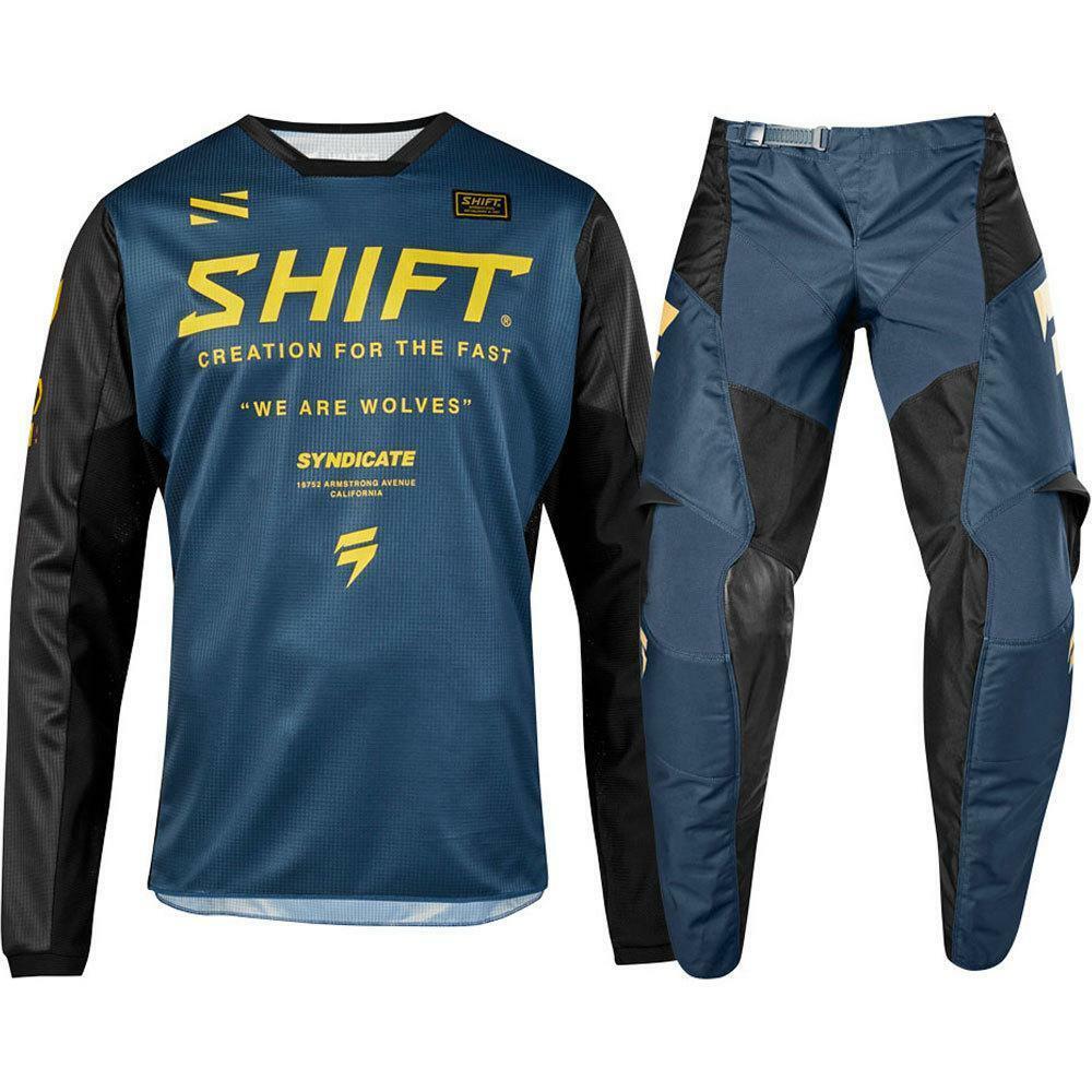 2019 NEW MX WHIT3 Label Navy Blue Jersey Pants Adult Motocross Gear Set Motobiker Racing Gear