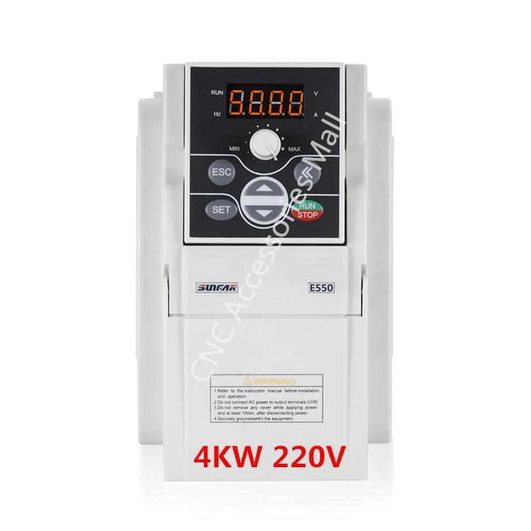 VFD inverter 4kw E550 AC220V frequency inverter E550 2S0040 for cnc router spindle motor