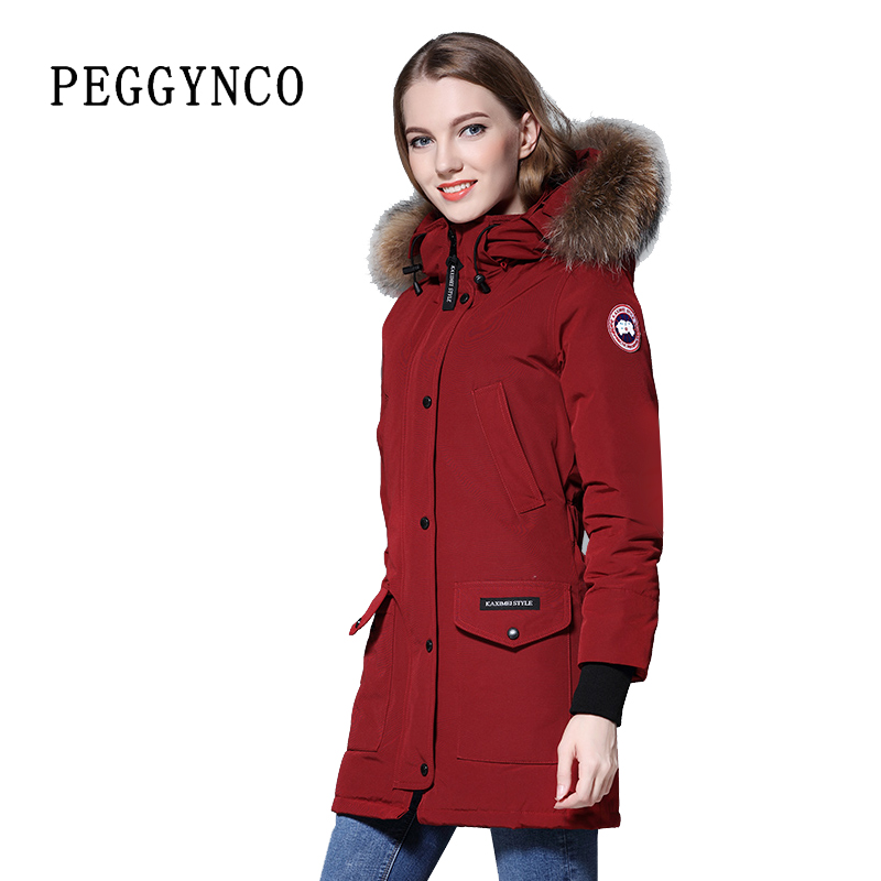 Dark Red Women Polyester Padding Wide-Waisted Real Raccoon Fur Parka Peacoat with Woven Patch Down Walking TopCoat гарнитура skullcandy ink d with mic dark red s2ikhy 481