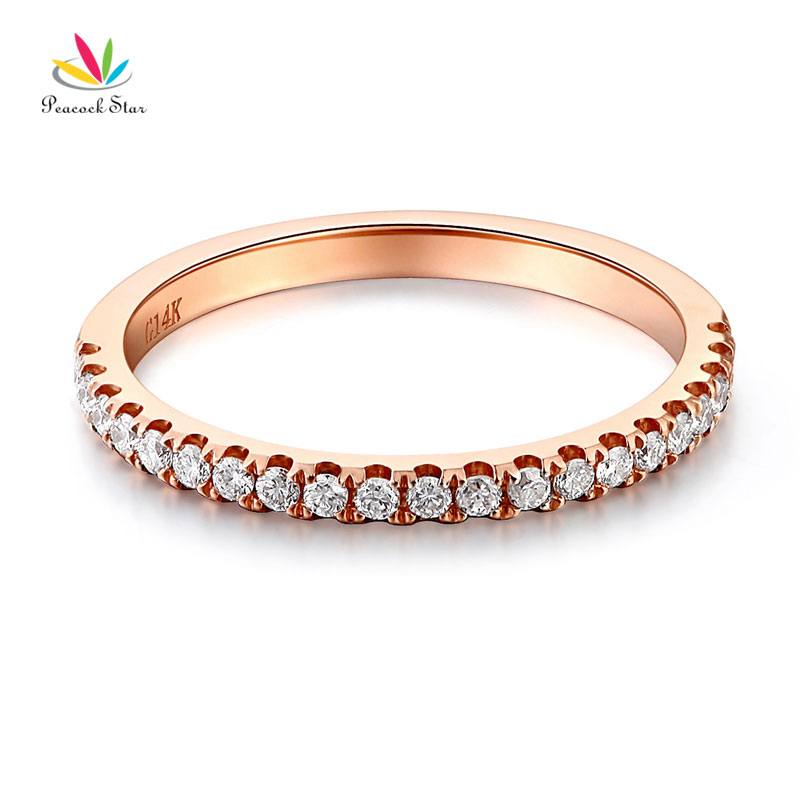 Peacock Star 14K Rose Gold Stackable Wedding Band Ring Half Eternity